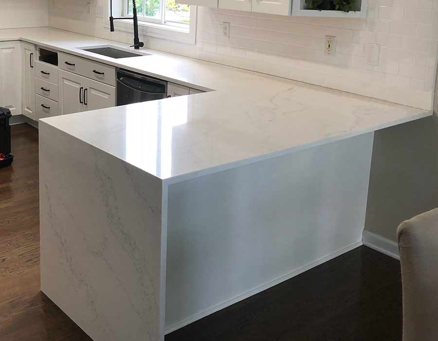Waterfall Kitchen Quartz Countertops